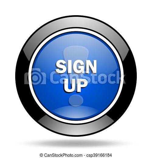 sign up blue glossy icon - csp39166184