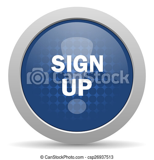 sign up blue glossy web icon - csp26937513