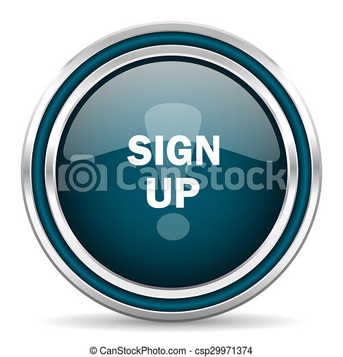 sign up blue glossy web icon - csp29971374