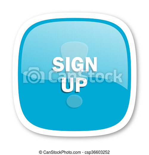 sign up blue glossy web icon - csp36603252