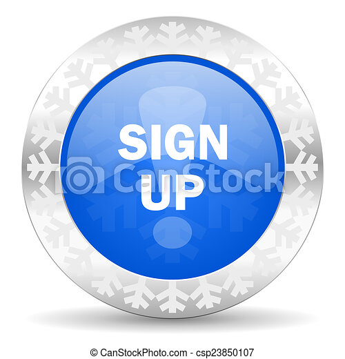 sign up blue icon, christmas button - csp23850107