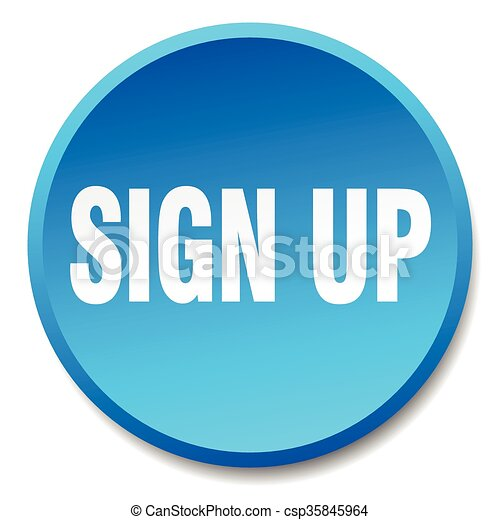 sign up blue round flat isolated push button - csp35845964