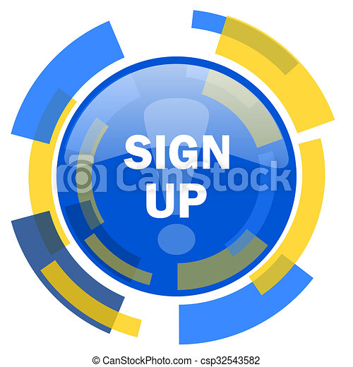 sign up blue yellow glossy web icon - csp32543582