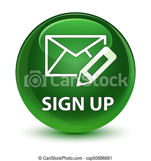 Sign up (edit mail icon) glassy soft green round button - csp50686661