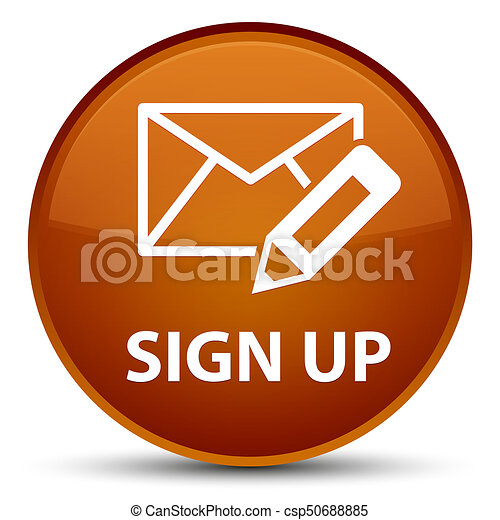 Sign up (edit mail icon) special brown round button - csp50688885