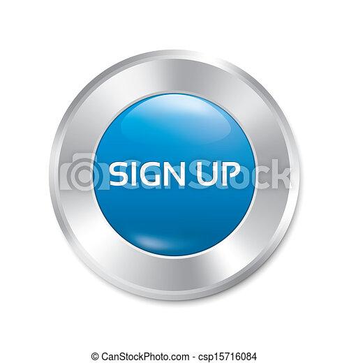 Sign up glossy blue button. Round sticker. - csp15716084