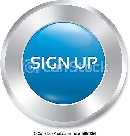 Sign up glossy blue button. Vector round sticker. - csp15657056