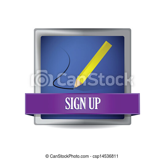 Sign up glossy button illustration - csp14536811