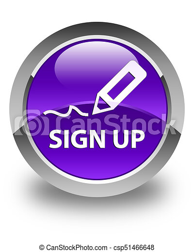 Sign up glossy purple round button - csp51466648
