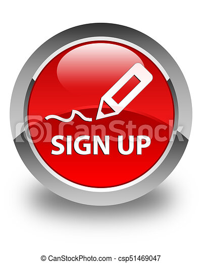 Sign up glossy red round button - csp51469047