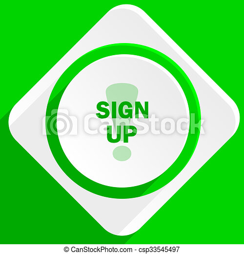 sign up green flat icon - csp33545497