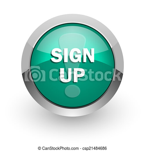 sign up green glossy web icon - csp21484686