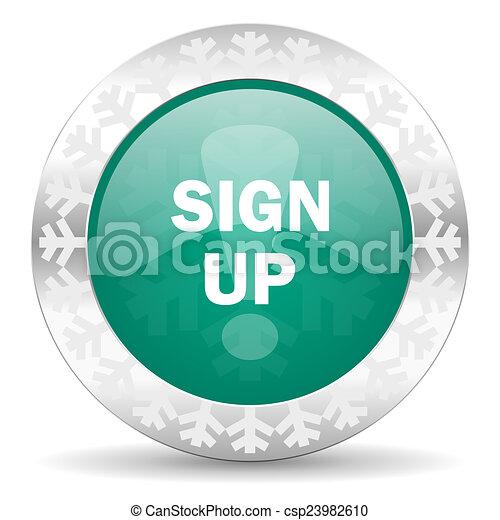 sign up green icon, christmas button - csp23982610