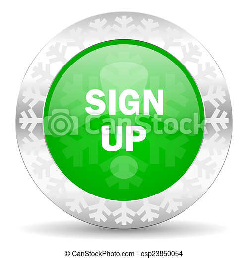 sign up green icon, christmas button - csp23850054