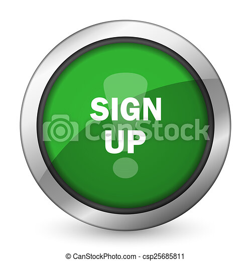 sign up green icon - csp25685811