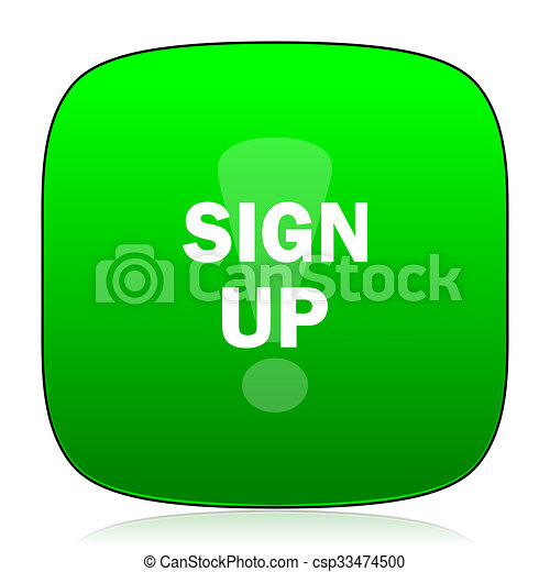 sign up green icon - csp33474500