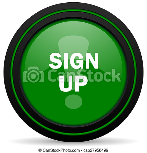 sign up green icon - csp27958499