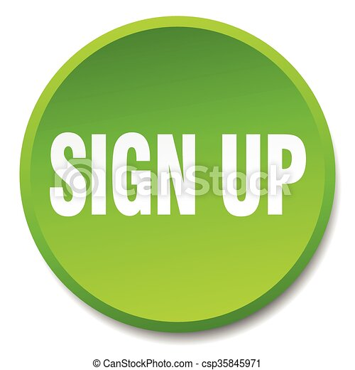 sign up green round flat isolated push button - csp35845971
