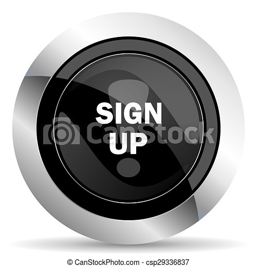sign up icon, black chrome button - csp29336837