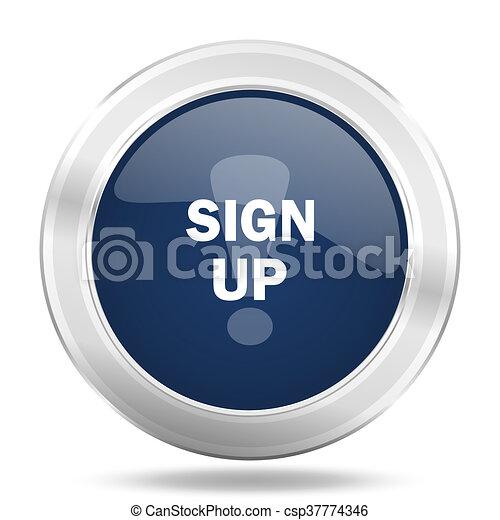 sign up icon, dark blue round metallic internet button, web and mobile app illustration - csp37774346