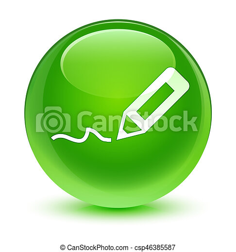 Sign up icon glassy green round button - csp46385587