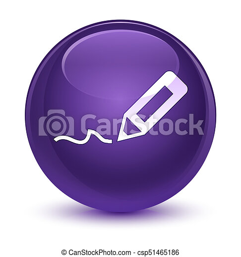 Sign up icon glassy purple round button - csp51465186