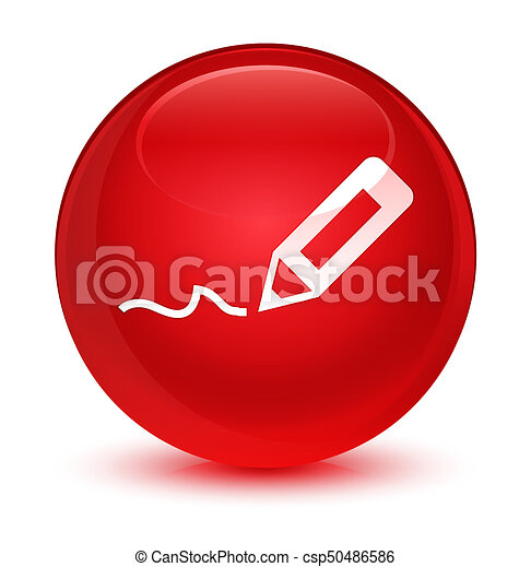 Sign up icon glassy red round button - csp50486586