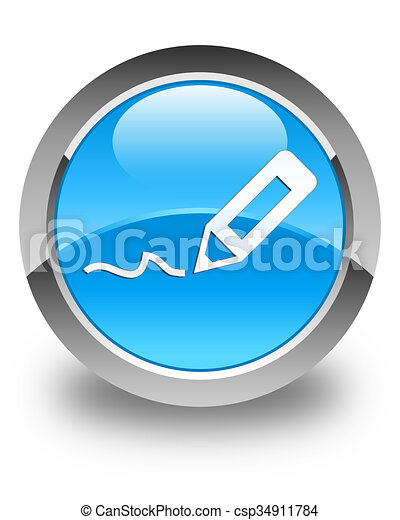 Sign up icon glossy cyan blue round button - csp34911784
