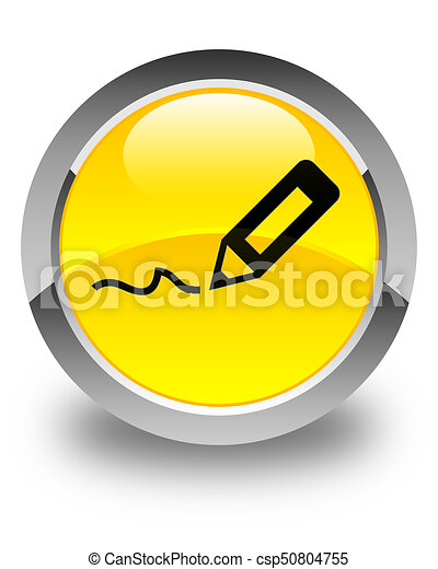 Sign up icon glossy yellow round button - csp50804755