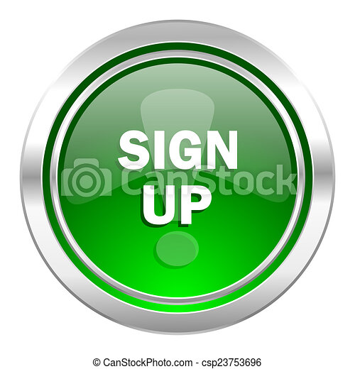 sign up icon, green button - csp23753696