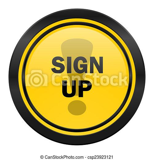 sign up icon, yellow logo, - csp23923121