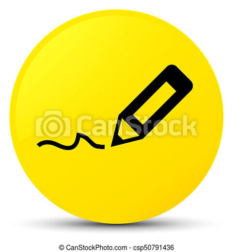 Sign up icon yellow round button - csp50791436
