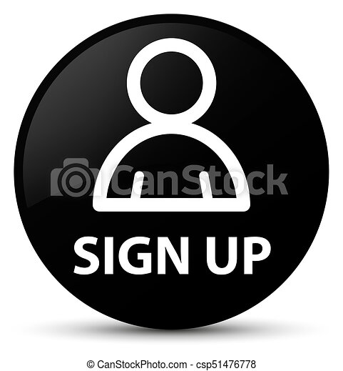 Sign up (member icon) black round button - csp51476778
