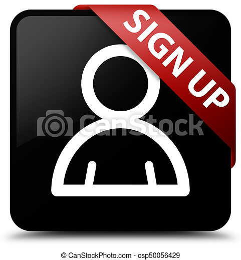 Sign up (member icon) black square button red ribbon in corner - csp50056429