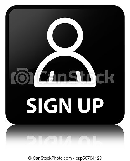 Sign up (member icon) black square button - csp50704123