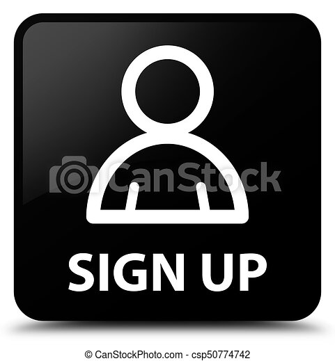 Sign up (member icon) black square button - csp50774742