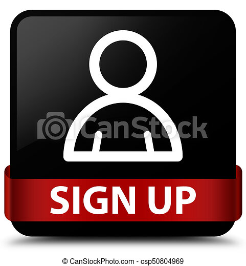 Sign up (member icon) black square button red ribbon in middle - csp50804969