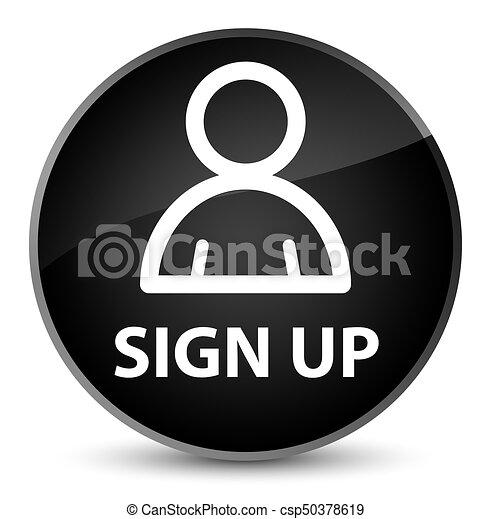 Sign up (member icon) elegant black round button - csp50378619