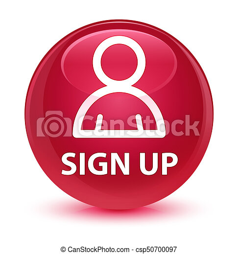 Sign up (member icon) glassy pink round button - csp50700097