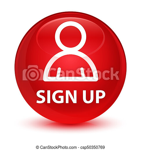 Sign up (member icon) glassy red round button - csp50350769