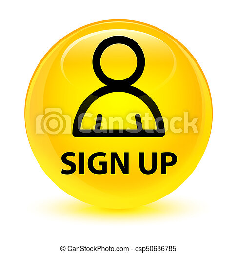 Sign up (member icon) glassy yellow round button - csp50686785