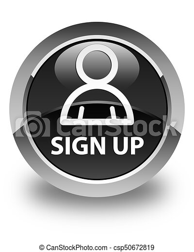 Sign up (member icon) glossy black round button - csp50672819
