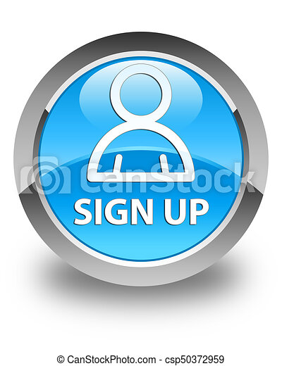 Sign up (member icon) glossy cyan blue round button - csp50372959