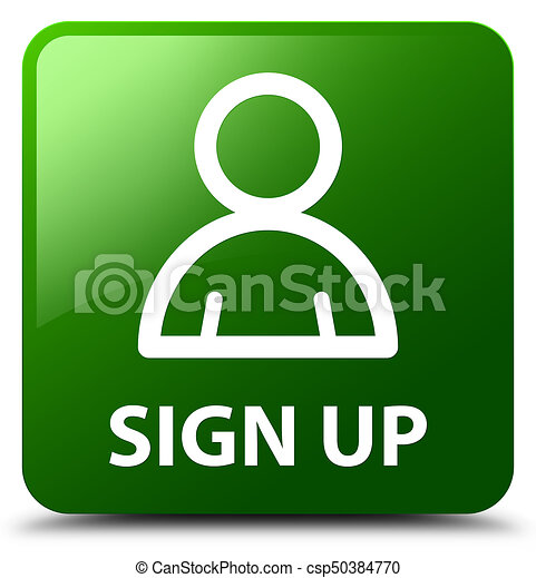 Sign up (member icon) green square button - csp50384770