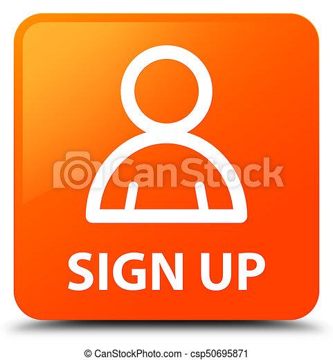 Sign up (member icon) orange square button - csp50695871