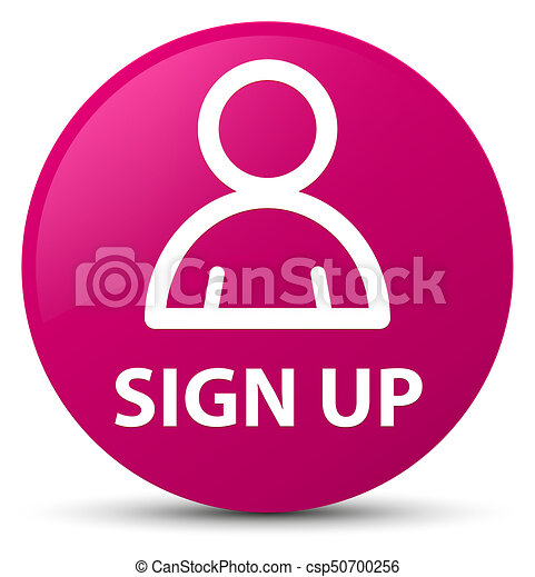 Sign up (member icon) pink round button - csp50700256