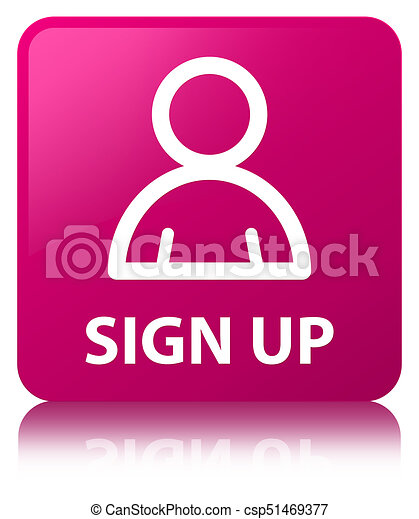 Sign up (member icon) pink square button - csp51469377