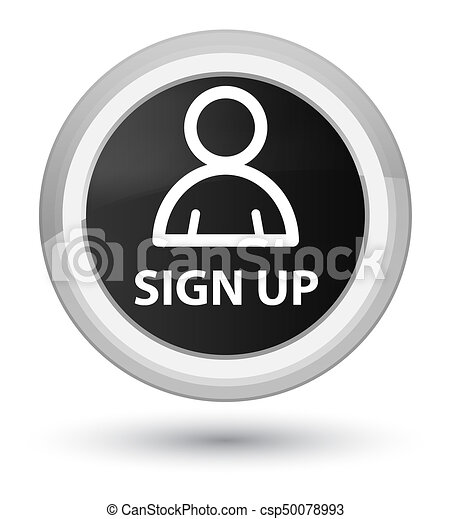 Sign up (member icon) prime black round button - csp50078993