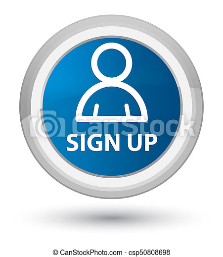Sign up (member icon) prime blue round button - csp50808698