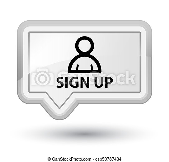 Sign up (member icon) prime white banner button - csp50787434